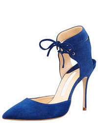 Lara suede laced ankle pump blue medium 55564