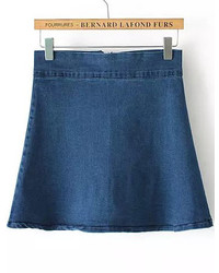 Blue With Zipper Denim A Line Skirt