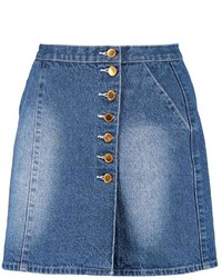 Boohoo Elsie Denim Button Through A Line Mini Skirt | Where to buy ...