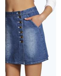 Boohoo Elsie Denim Button Through A Line Mini Skirt   Where to buy ...