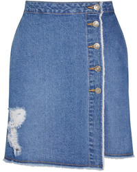 SteveJ & YoniP Steve J Yoni P Distressed Denim Mini Skirt
