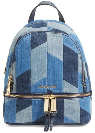 michael kors michl kors small rhea zip denim backpack blue where rh lookastic com