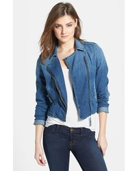 Blue Denim Biker Jacket