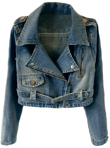 1013d0e756 ... Blue Denim Biker Jackets ChicNova Cropped Denim Moto Jacket ...