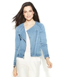 Ellen tracy long sleeve denim moto jacket medium 533444