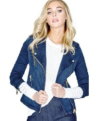 GUESS Slim Fit Denim Biker Jacket In Sky Wash