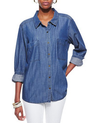 Long sleeve denim shirt classic blue medium 72769