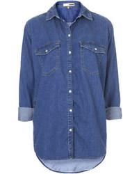 Topshop Moto Vintage Wash Denim Oversized Shirt With Classic Trims 100% Cotton Machine Washable