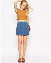 Asos Collection Denim Look Button Through A Line Mini Skirt