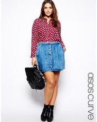 Asos Curve Denim Skirt With Button Through