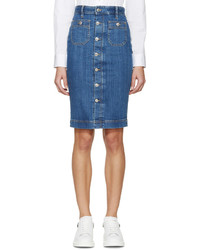 Dsquared2 Blue Buttoned Iza Denim Skirt