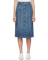 Frame Denim Blue Denim Le Panel Skirt