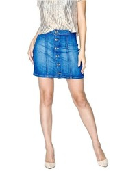 GUESS Button Denim Miniskirt In Trading Post Wash