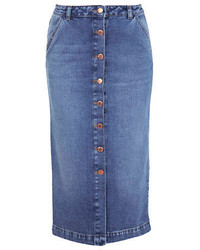 Miss Selfridge Button Front Denim Midi Skirt