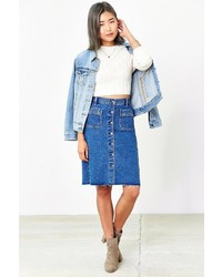 BDG Button Front Denim Pencil Skirt
