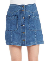 Free People Button Front Jean Skirt