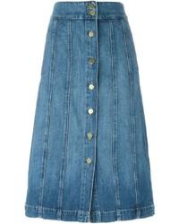 Frame Denim A Line Buttoned Denim Skirt