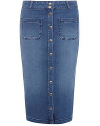 Dorothy Perkins Midwash Button Denim Pencil Skirt
