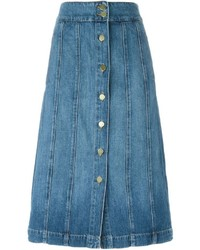 Frame Denim A Line Buttoned Denim Skirt