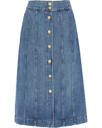 Frame Le Panel Denim Skirt Mid Denim