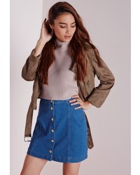 Missguided Button Through Denim Skirt Pretty Blue
