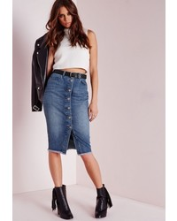 Missguided Long Button Through Denim Midi Skirt Stonewash