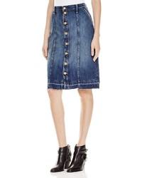 Current/Elliott Sally Button Front Denim Skirt