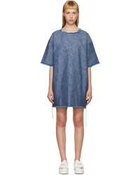 Indigo denim frayed t shirt dress medium 526978
