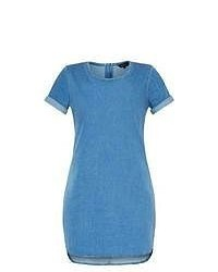 New Look Blue Denim Roll Sleeve Dip Hem Bodycon Dress