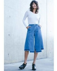 Concrete Runway Denim May Hem Culottes