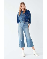 BDG Cropped Denim Culotte Distressed
