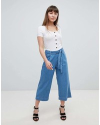 New Look Denim Tie Waist Culottes