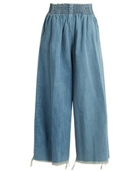 Rachel Comey Frayed Hem High Rise Wide Leg Denim Culottes