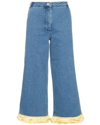 House of Holland High Rise Fringed Trim Denim Culottes