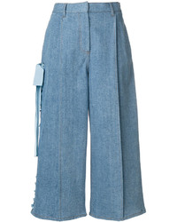 Fendi Lace Up Wide Leg Denim Culottes