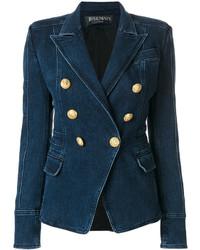 Balmain Button Embellished Denim Blazer