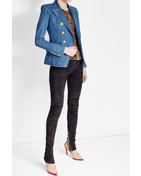 Balmain Denim Blazer With Embossed Buttons