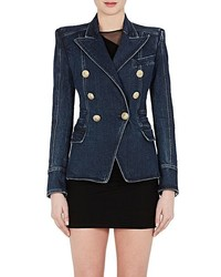 Balmain Denim Double Breasted Blazer
