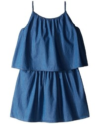 Chloe Kids Light Denim Style Dress With Braided Straps