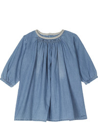 Chloé Chloe Ruffle Neck Cotton Denim Dress 6 36 Months