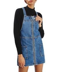 Topshop Denim Utility Pinafore Dress