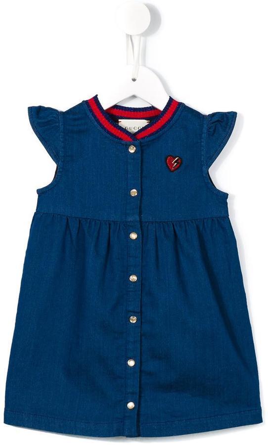 Gucci Kids Web Collar Denim Dress