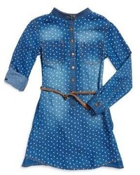 Manguun Girls Star Print Denim Dress