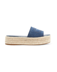 Prada Embroidered Denim Espadrille Platform Slides
