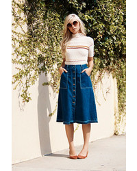 Free people making me crazy denim midi medium 420296