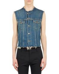 Saint Laurent Cutoff Jeans Jacket Vest Blue