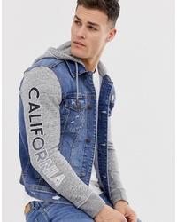 Hollister Denim Trucker Jacket In Medium Wash With Jersey Hood
