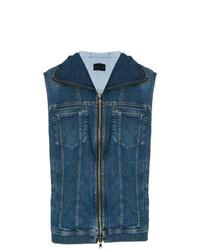 Diesel Black Gold Denim Zip Front Hooded Vest