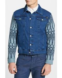 Revival denim jacket with knit sleeves medium 230298