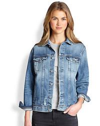 AG Jeans Ag Nancy Oversized Distressed Denim Jacket